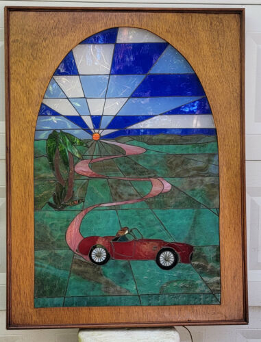 RARE 80s HUGE HAND MADE STAINED GLASS WALL ART LIGHT BOX