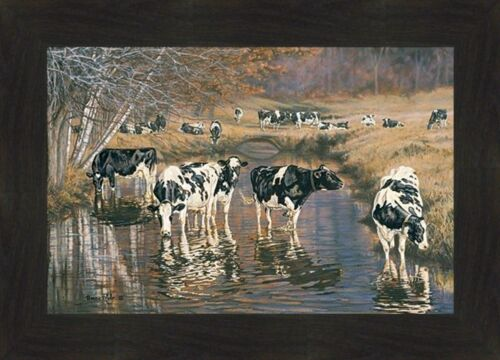 FALL REFLECTIONS by Bonnie Mohr 16x22 FRAMED PICTURE WALL ART Farm Cows Stream