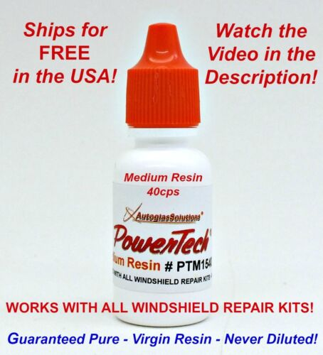 PowerTech Medium Auto Glass Windshield Rock Chip Crack UV Repair Resin .5oz 15 m <br/> Watch Video in Description! Use Use with any kit.