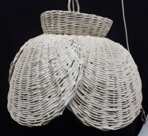 Vintage Wicker Ceiling Light Chandelier Shabby Cottage Chic Retro Old 3988-14