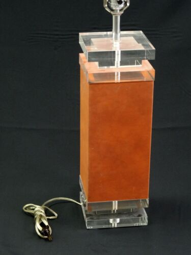 "BEST CHIC 70s ARCHITECTURAL ""SUEDE"" WRAPPED LUCITE LAMP + ORIGINAL SHADE"