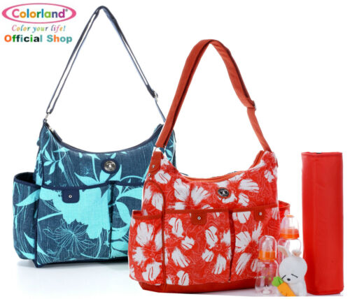 Colorland Flowers Linen Hobo Baby Changing Nappy Diaper bag 50%OFF RRP $69.99