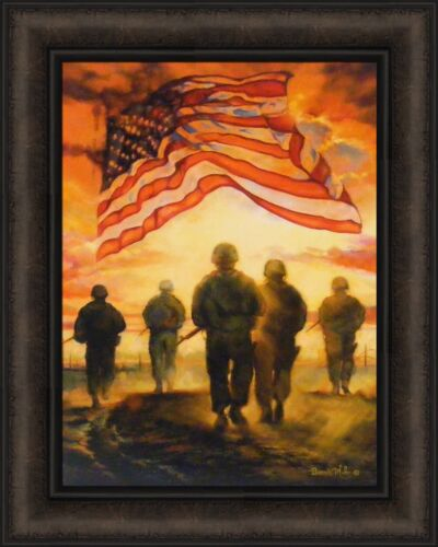 BLESS AMERICA'S HEROES by Bonnie Mohr 16x20 FRAMED PICTURE Soldier Flag Military
