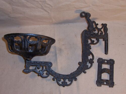 Antique Kerosene Oil Lamp Holder Cast Iron Wall Mount Victorian Home Decor