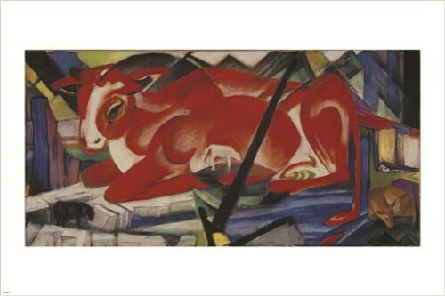 THE WORLD COW franz marc VINTAGE PAINTING art poster CUBIST colorful 24X36