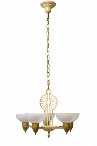 Art Deco 5 Arm Chandelier Light Fixture Cream Painted Distressed Finish
