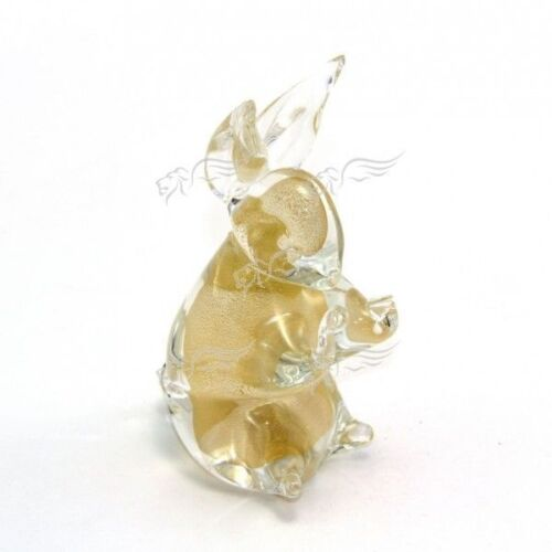 Sculpture Collection Pet Rabbit Gold Leaf Murano Glass Made in Italy