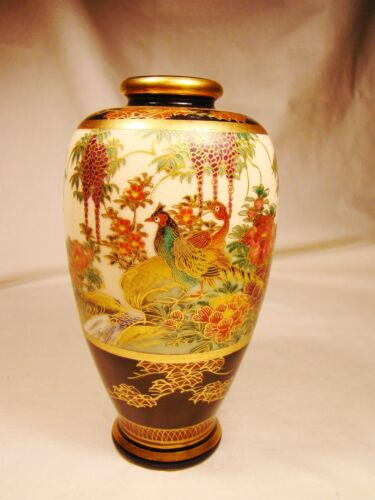 "Signed Satsuma Pheasants & Peonies Vase 6""h mid-late 19th century"