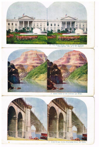 1898 Antique Cardboard Stereoscope Stereoview Cards Grand Canyon White House 3