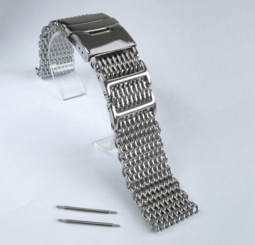 20mm SHARK MESH Polished Stainless Steel, Heavy Duty, Diving, Dive Watch Strap