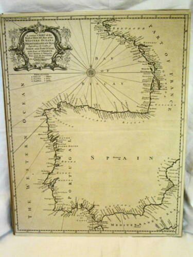 "Map of Spain & Portugal 19""x15"" 1743-1747 Copperplate Engraved Map Rapin's Hist"