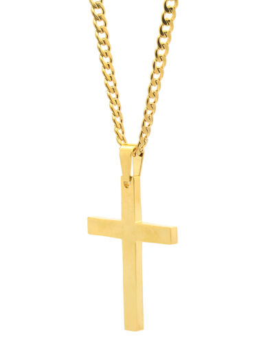 """Mens Stainless Steel Gold Plated Cross Plain Pendant 24"""" Cuban Necklace Chain"""