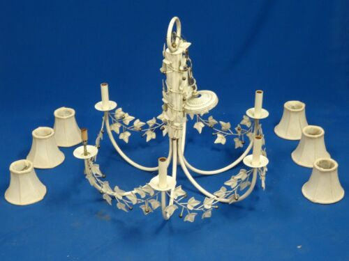 FANTASTIC LARGE 60s CONTINENTAL IVY LEAF TOLE IRON & BRASS CHANDELIER