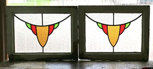 Pair of Antique Stained Glass Windows Three Color Golden Design           (2889)
