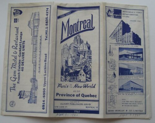 Map Of  Montreal & Province Of Quebec  Canada 1961