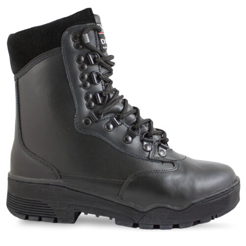 Waterproof Black Leather Military Combat Tactical Security Police Boots 4-13 UK