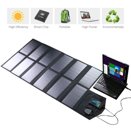 Waterproof Foldable 18V 60W Solar Panel Charger Pack for Laptop Cellphone Tablet