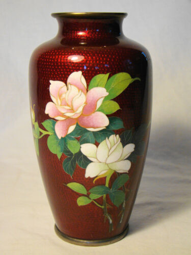 """Japanese Cloisonne Akasuke Red Floral Vase 6""""h late 19th - early 20th c"""