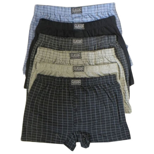 6 x Mens Natural Cotton Blend Button Fly Jersey Boxer Shorts Underwear Boxers