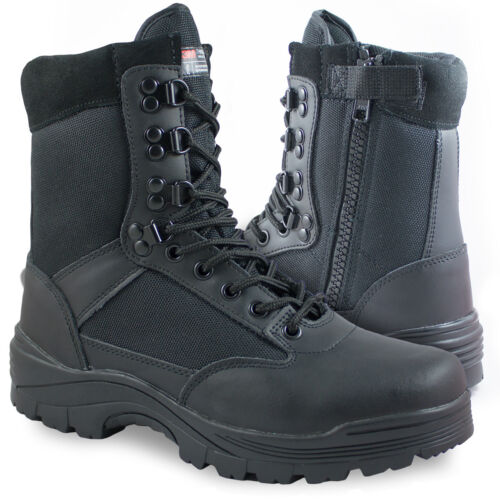 Black Side Zip Military Combat Patrol Tactical Cadet Security Police Boots 4-14
