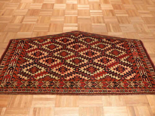 2'2 X 3'8 Hand Knotted Antique Yamouth Oriental Rug G1430