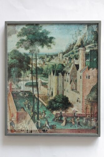 Vintage Poland Litho Picture Frame HANS BOL SPRING IN THE CASTLE
