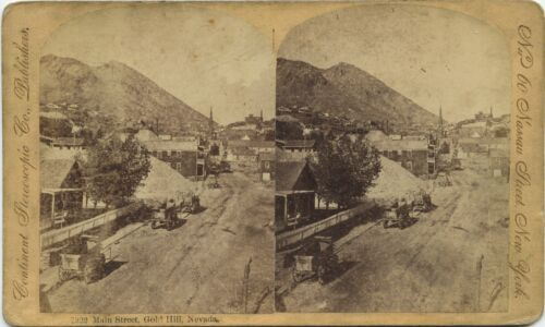 Nevada, Continent Stereoscopic Co. stereoview 1860's Main Street, Gold Hill, NV