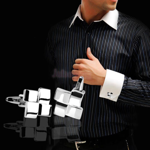 Men's Silver Geometric Dress Shirt Cufflinks Cuff Links Wedding Groom Gift