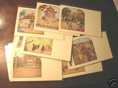 set 25 color lithograph stereoview post card unused