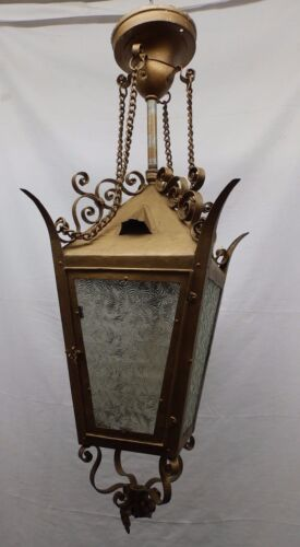 Antique Gothic Chandelier Ceiling Porch light Florentine Glass Old Vtg 4812-15