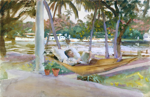 Singer Sargent Watercolor Reproductions: Figure in a Hammock : Fine Art Print