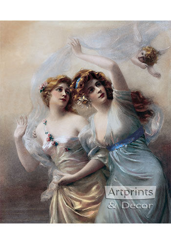 Love's Messengers by Edouard Bisson (Art Print of Vintage Art)