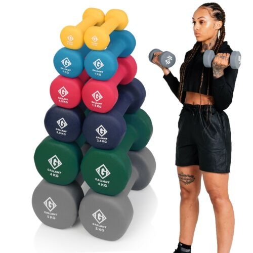 Dumbbells Neoprene Iron Hand Weights Home Gym Aerobic Exercise Dumbells Ladies <br/> 1kg 2kg 3kg 5kg 8kg 10kg - Sold as Pair - Non Slip Sale