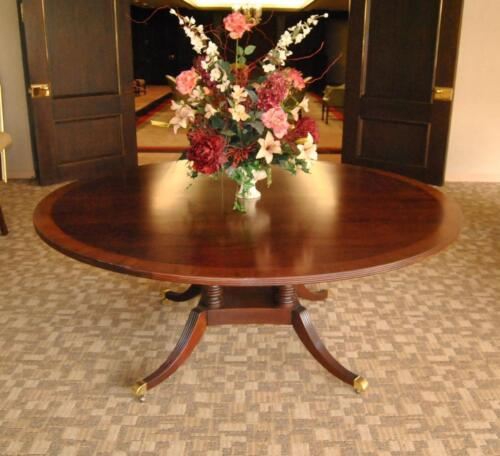 "Banded Mahogany 72"" Diameter Center Table by Baker, Collector's Edition"