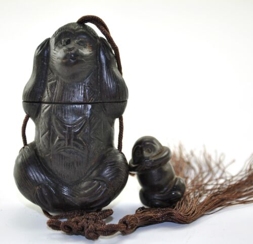 Vintage Natural Wood No Evil Monkey Inro Box Netsuke Hanging Charm Case Pouch