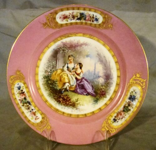 Rare 18th c Antique Sevres Porcelain Painted Portrait Plate of 2 Ladies. c1758