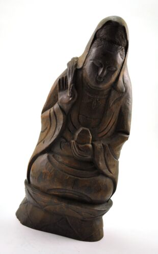 Vintage chinese real Bamboo root Hand carving Quan Yin Mercy God Buddha statue