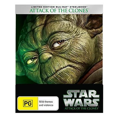 Star Wars Prequel Episode 2 II - Attack Of The Clones  Steelbook Blu ray RB New