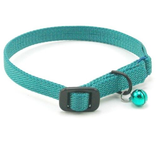 "HAMILTON Nylon Safety Cat Collar with Bell, 14"" x 3/8"", Teal"