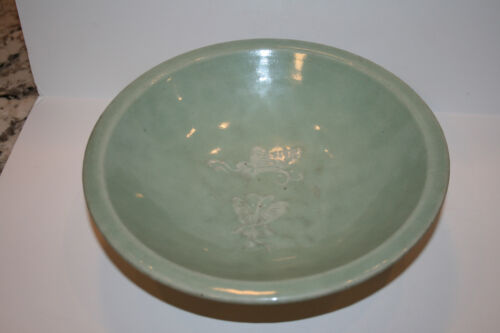 Antique 18th Century Chinese Ming Style Glazed Celadon Bowl Basin Authenticated