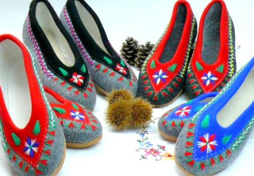 100% WOOLLEN FELT SLIPPERS  LADIES HANDMADE AND HAND-EMBROIDERED ALL SIZES