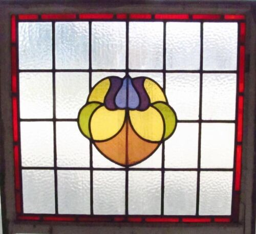 )Large Antique Stained Glass Window Six Color Ruby Bordered Floral        (2467)
