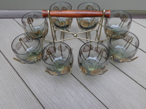 8~Mid Century Modern DOROTHY THORPE ERA ROLY POLY Roman Coin Glasses  In Rack