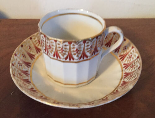 Antique 18th century English Worcester Porcelain Coffee Can Tea Cup & Saucer