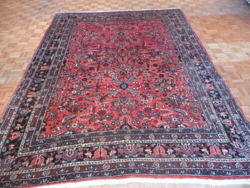 8'6 X 12 Hand Knotted Antique Persian Sarouk Oriental Rug G1802