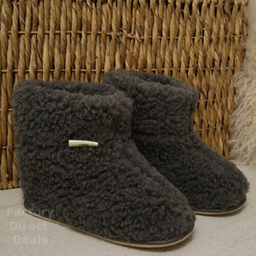 100% Sheep Wool Boots Cozy Foot Slippers Hard Sole Sheepskin Womens Mens Grey <br/> HIGH QUALITY, FAST & FREE DELIVERY, UK STOCK