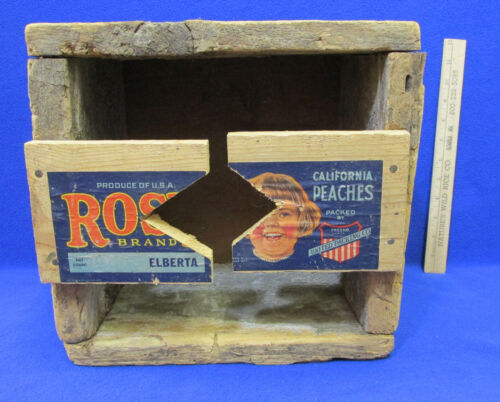Primitive Handmade Wood Box with Wooden Peach Crate Advertising Attached
