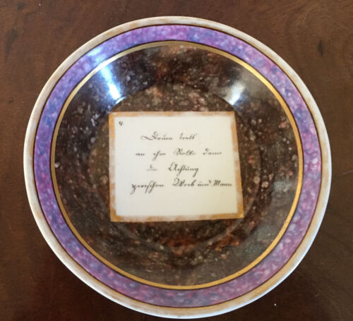 Antique 18th century German Porcelain Tea Saucer Dish Faux Marble Porphyry Stone