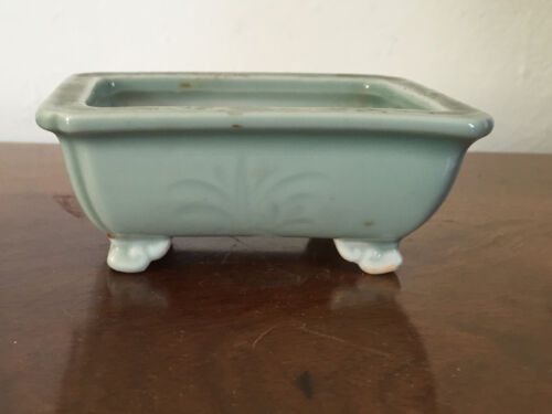 Antique 19th century Chinese Celadon Porcelain Planter Flower Pot Bonsai Vase