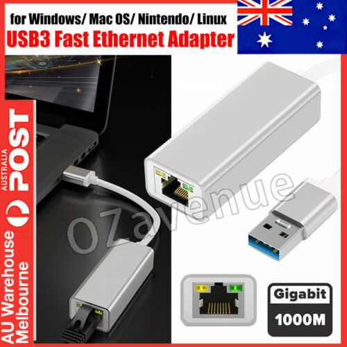 USB 3.0 to Gigabit RJ45 Ethernet LAN Network Adapter 1000Mbps For PC Laptop Mac <br/> Premium Quality -  Aluminium Case!!